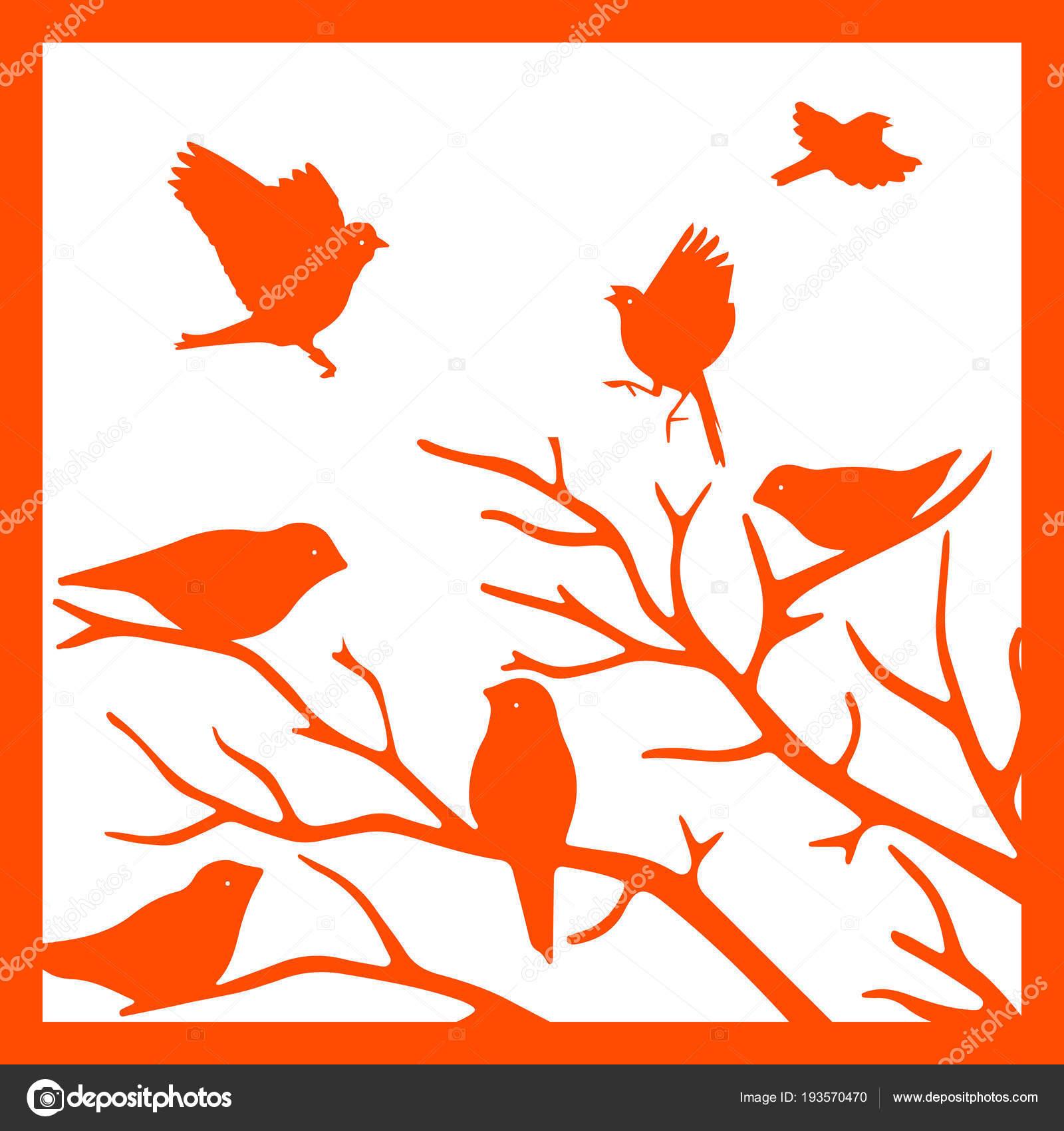 Orange Silhouette im Rahmen, Vögel auf einem Ast, auf einem weißen ...