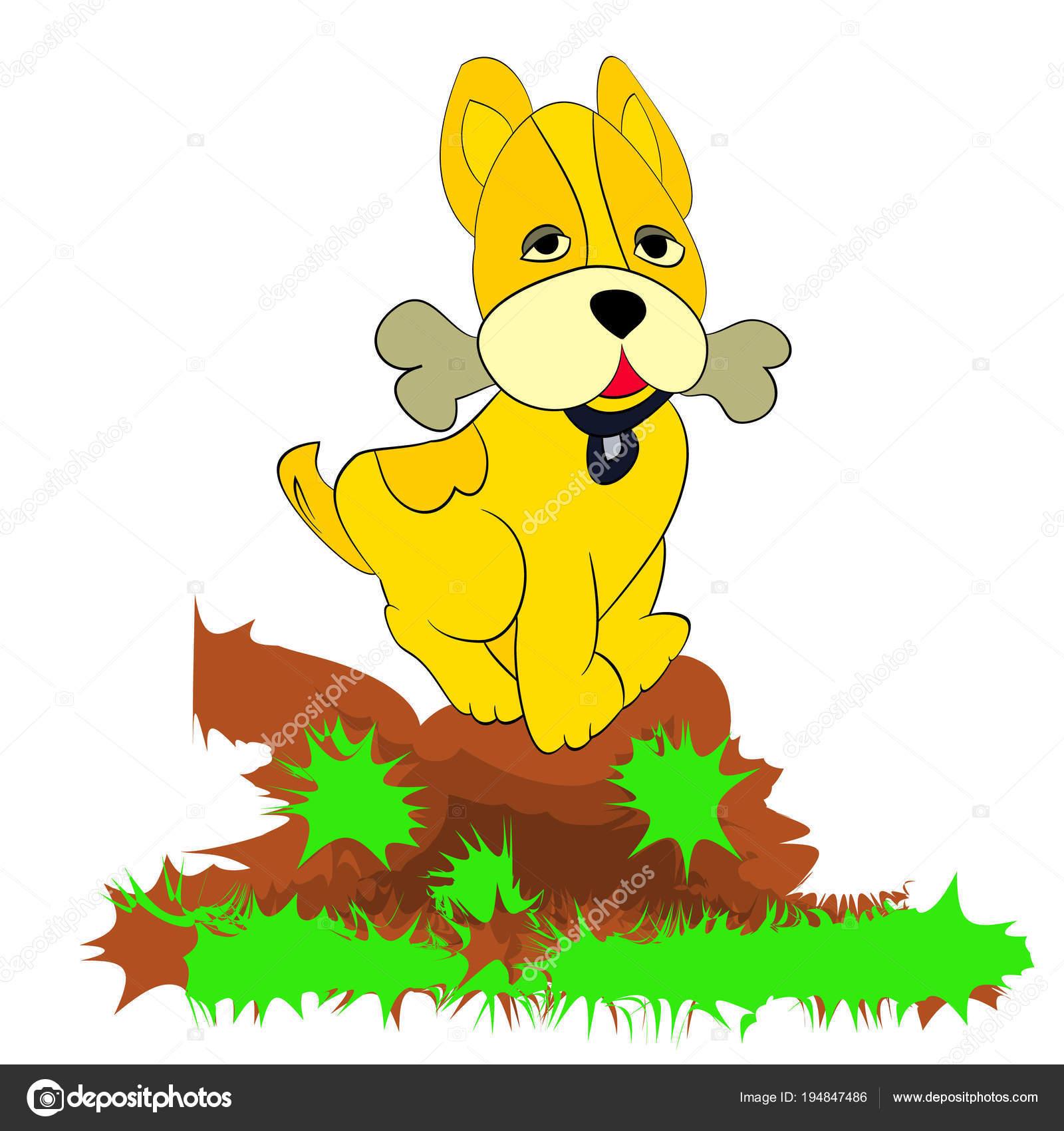 Dessin Humoristique Chien chien jaune ludique dans les dents dessin humoristique sur