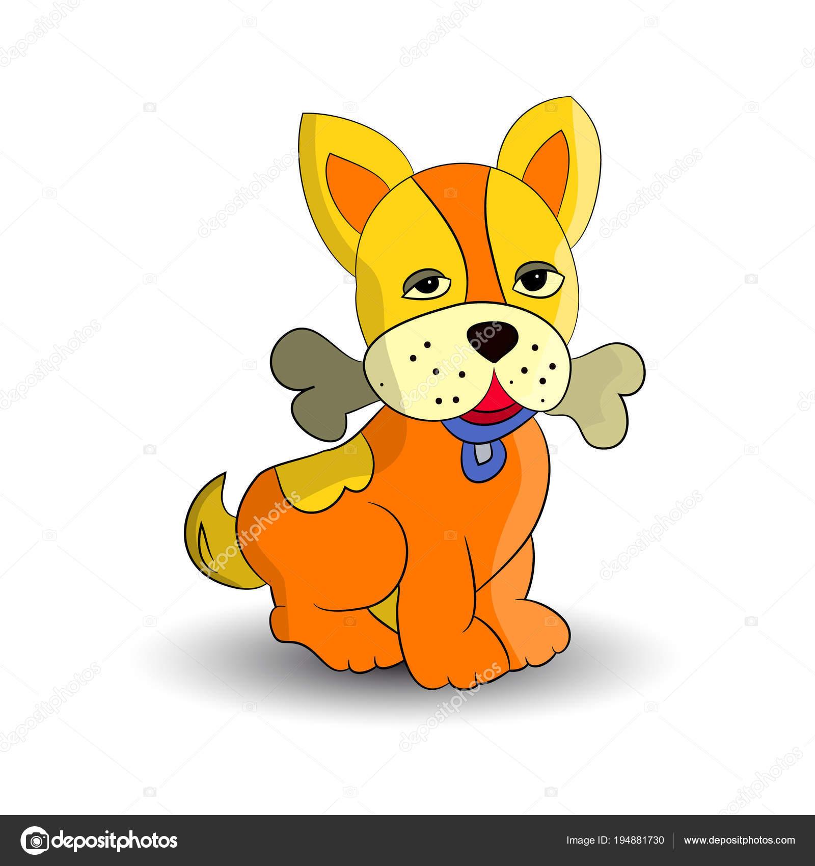 Dessin Humoristique Chien symbole nouvelle année 2018 orange chien tenant dans les dents