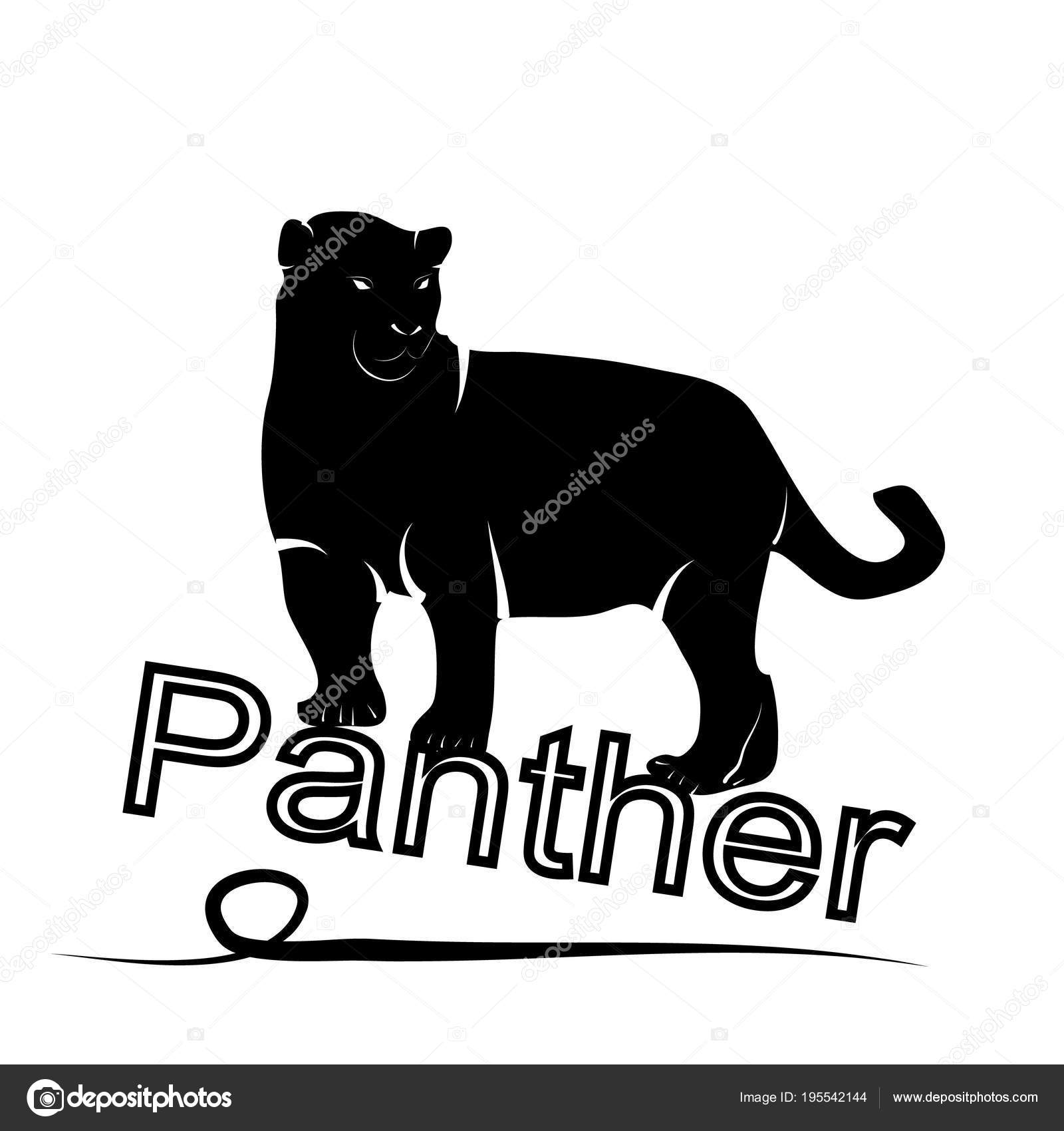 exotic panther silhouette logo on a white background stock