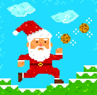 pixel art Santa Clause