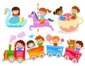 Fotografie Kinder auf Fahrgeschäften