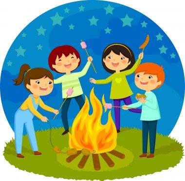 kids having a bonfire
