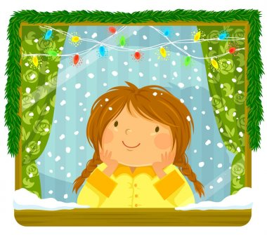 Little girl looking at the snow through a window with Christmas lights and decoration