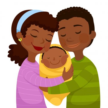 Happy dark skinned parents hugging a small baby