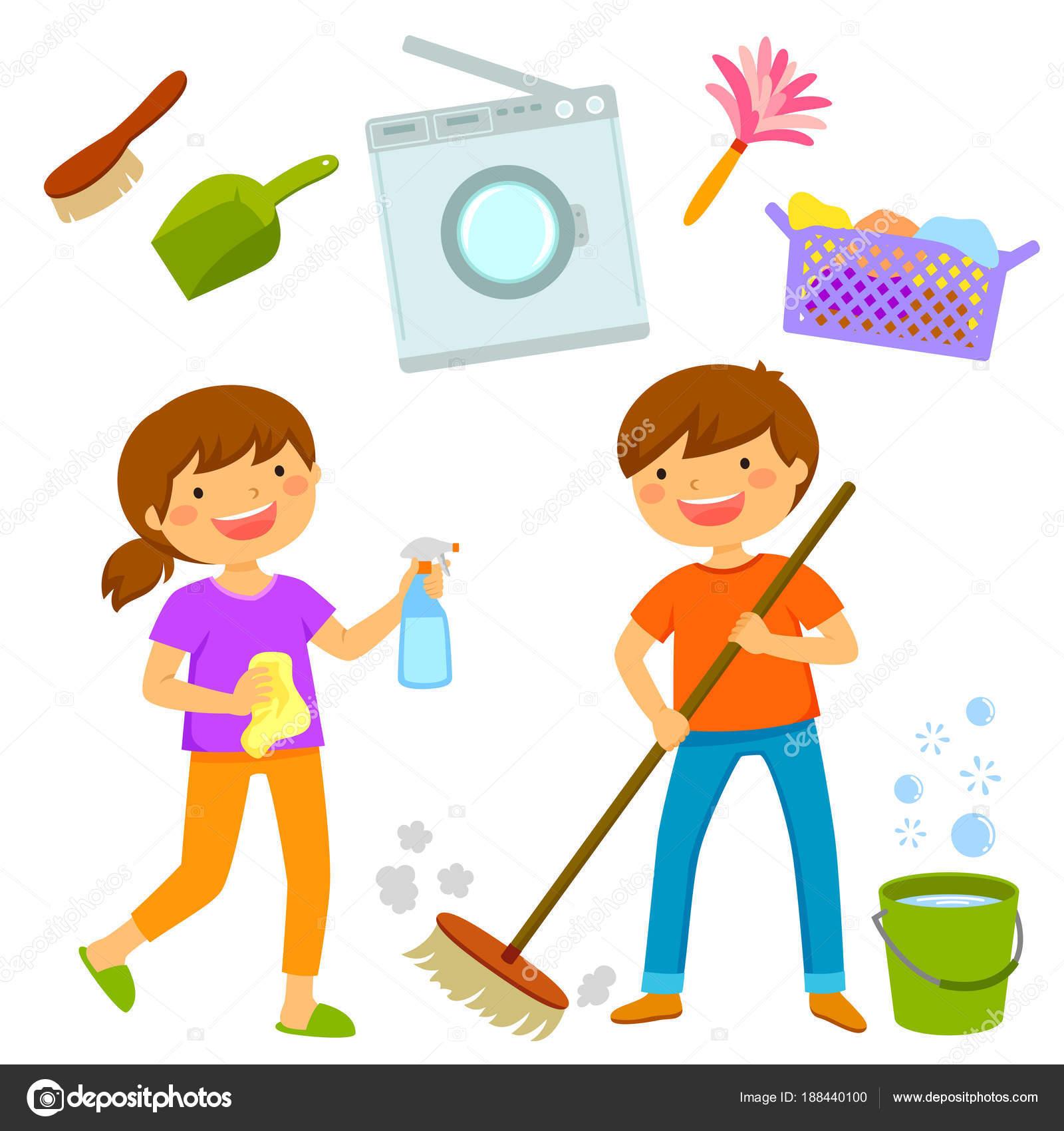 Lycklig pojke och flicka st da huset och g ra sysslor for Planning faccende domestiche