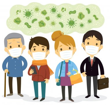 Group of people wearing face masks and worry about viruses and contagious diseases.