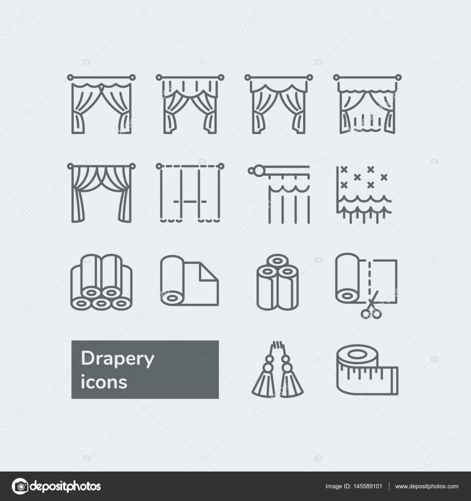 Elemente Fur Gardinen Shop Vektor Linie Icons Mit Vorhangen