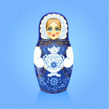 Gzhel painting blue russian babushka or matrioshka doll with samovar on blue background. Russian souvenir. Realistic vector illustration