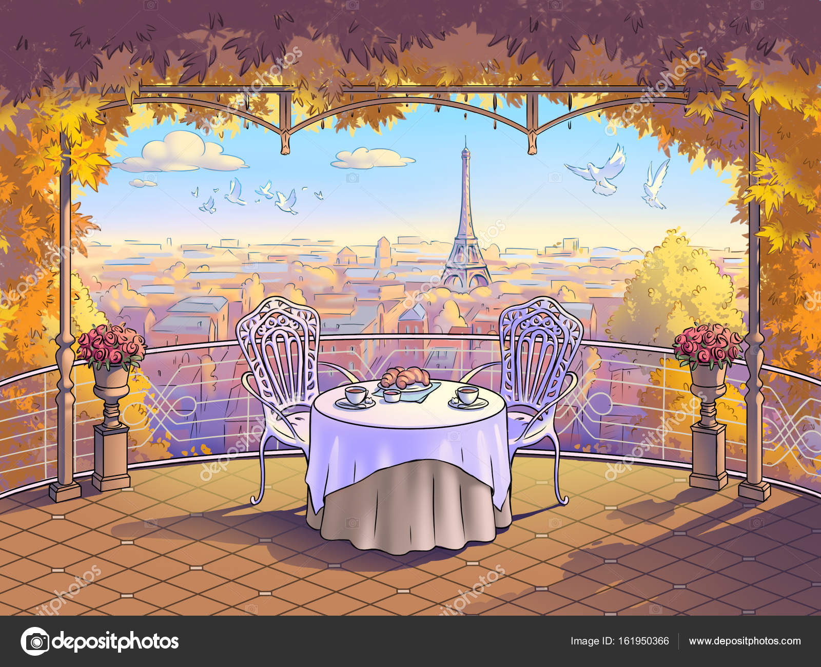 Balcony with a view of paris romantic breakfast for a for Balcony with view