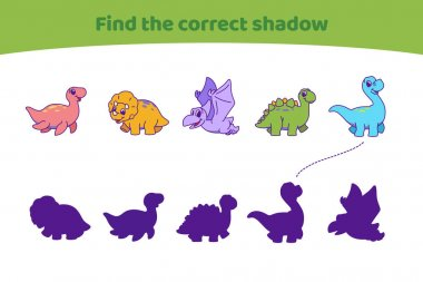 Cute dinosaurs. Find the correct shadow. Find the right path to silhouette. Educational game for children. Cartoon vector illustration.