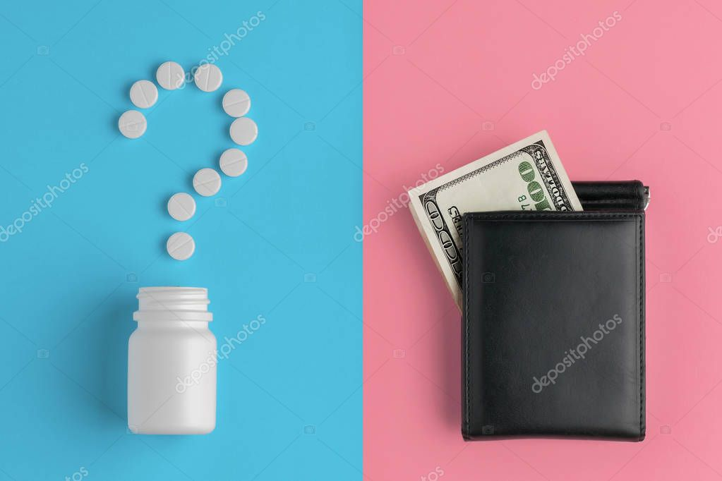 Pharmaceutical pills, hundred dollar bill and bottle on blue magenta background. Concept question mark, cost of treatment.