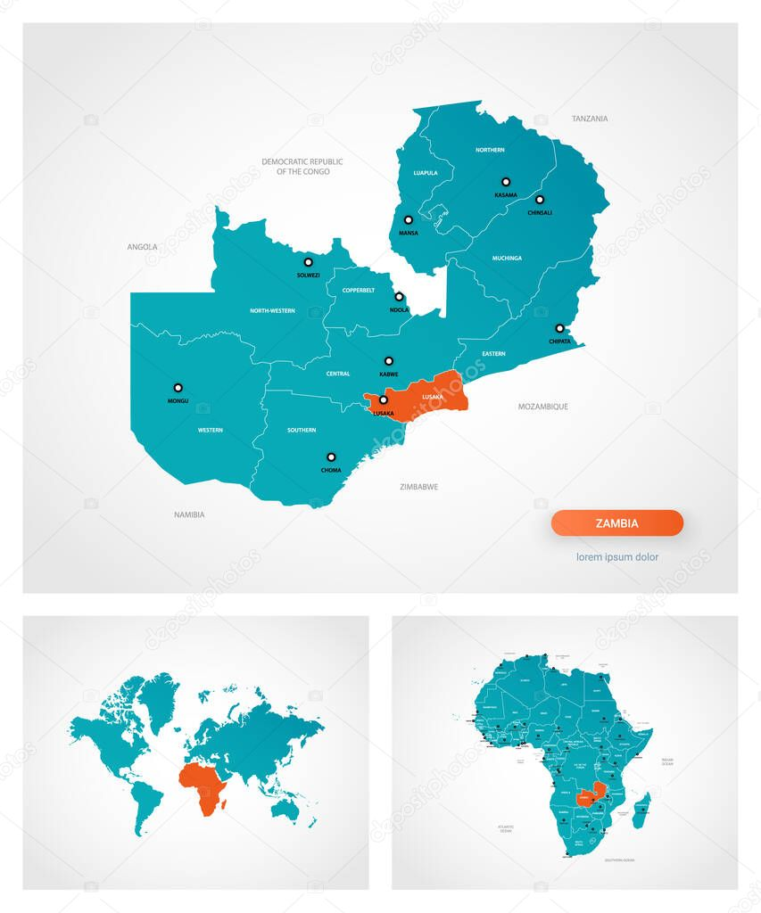 Editable Template Of Map Of Zambia With Marks Zambia On World Map And On Africa Map Premium Vector In Adobe Illustrator Ai Ai Format Encapsulated Postscript Eps Eps Format