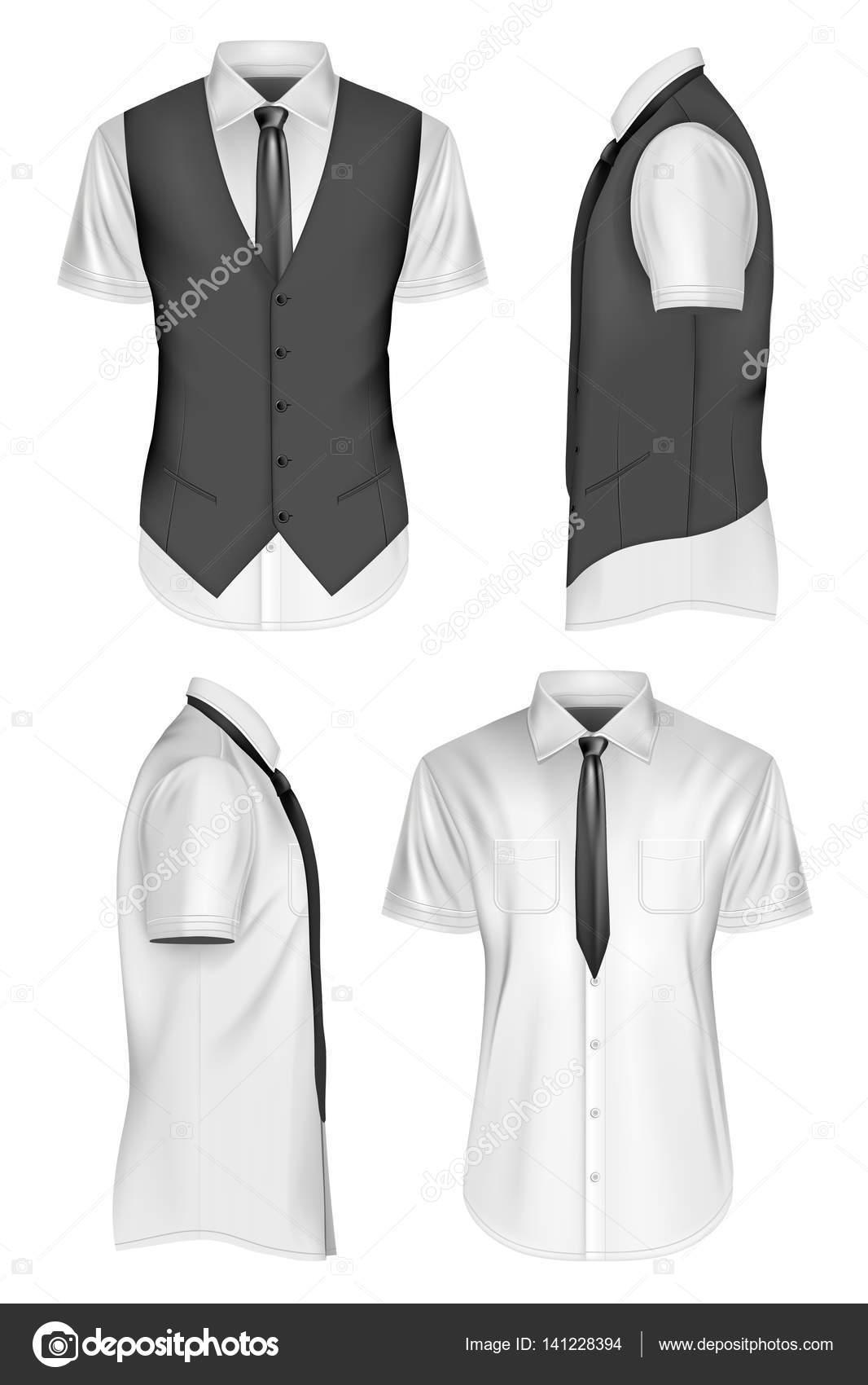 edba880815bb Ανδρών κοντό μανίκι πουκάμισο με γραβάτα και γιλέκο. Πλήρως επεξεργάσιμο  χειροποίητο ματιών. Εικονογράφηση διάνυσμα — Διάνυσμα με ...