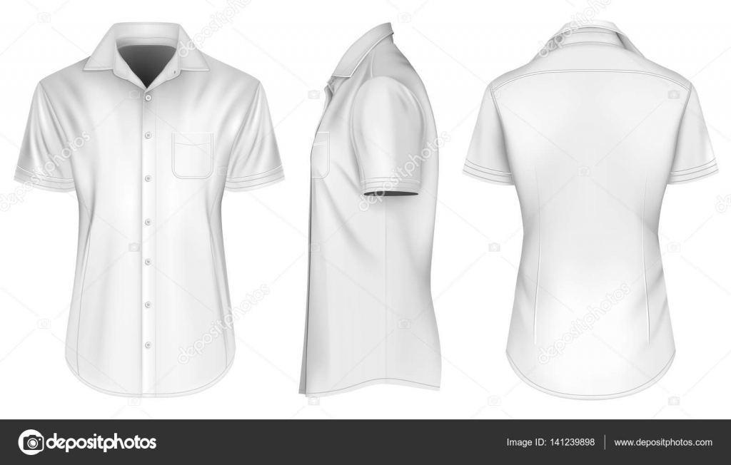 6b14c03dd49abf Mens short sleeved formal button down shirts. Open collar. Front. Side and  back views. Fully editable handmade mesh. Vector illustration — Vector by  ...