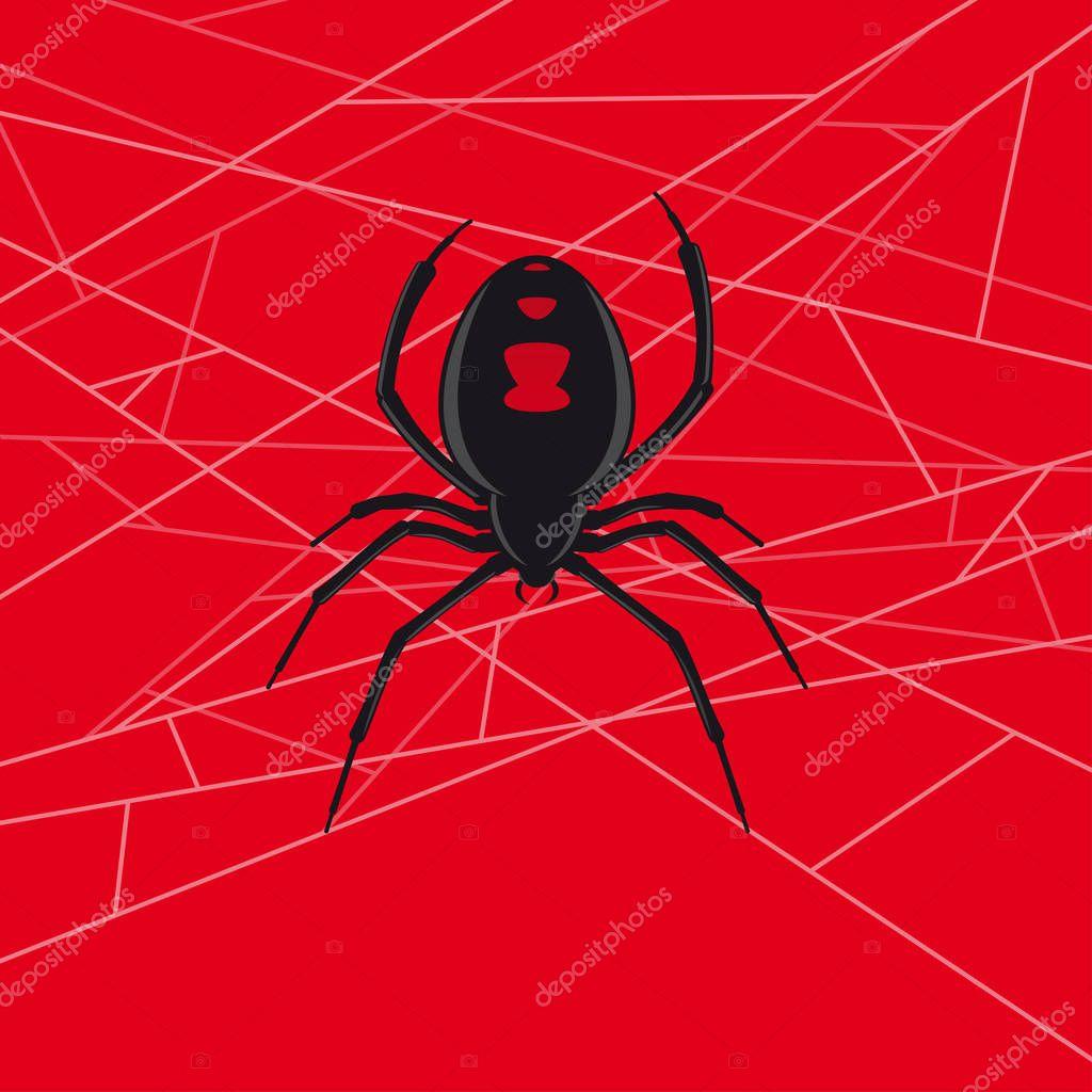 Black Widow Spider Vector In Web Premium Vector In Adobe Illustrator Ai Ai Format Encapsulated Postscript Eps Eps Format