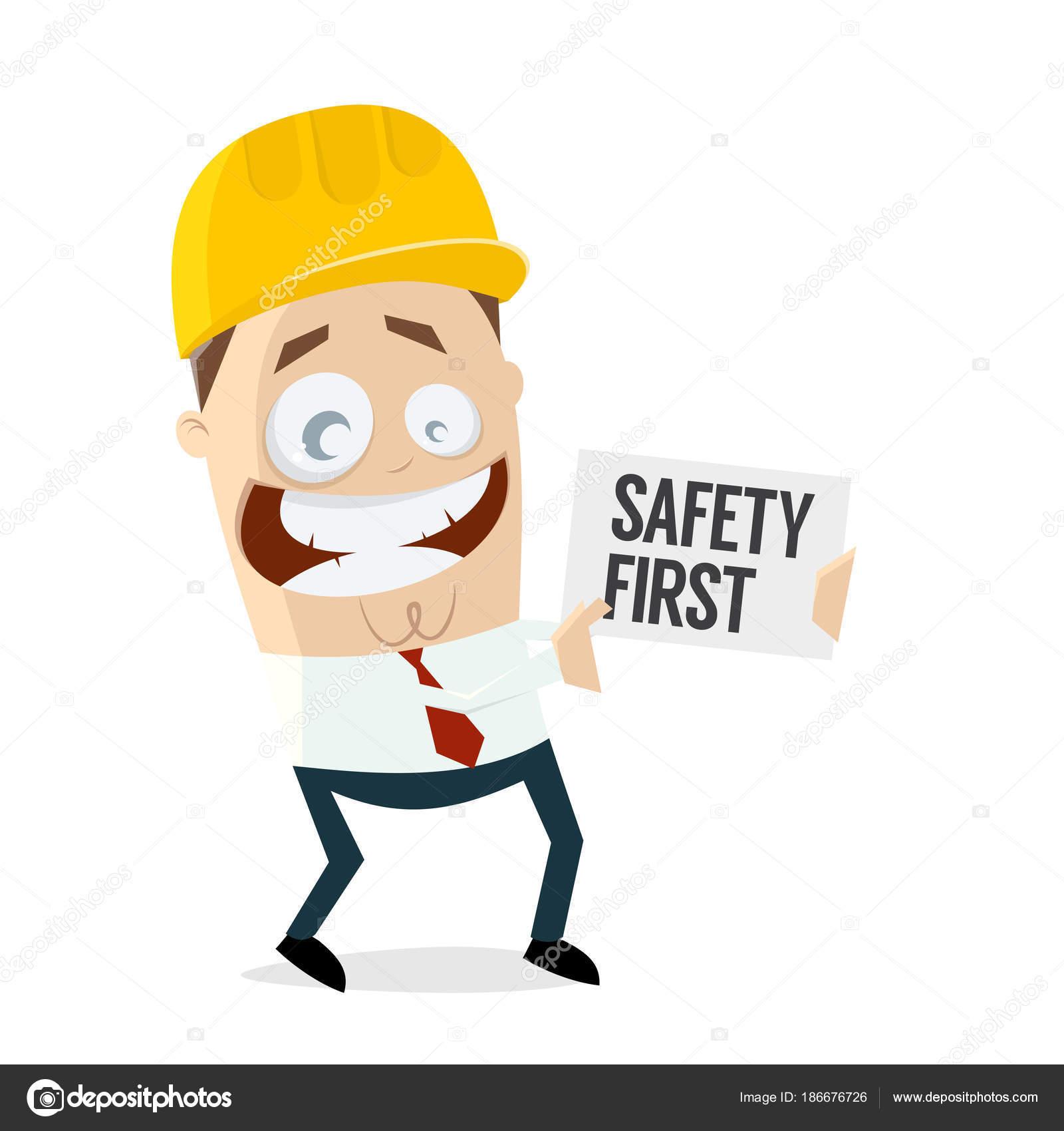 最初にヘルメット 安全と人間のクリップアートに署名します — ストック