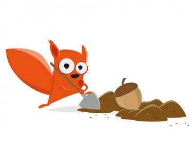 funny cartoon squirrel hiding a nut clipart
