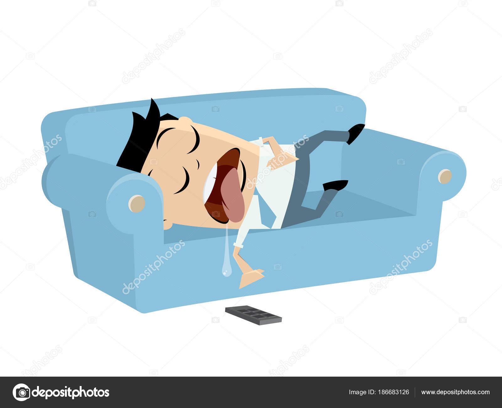 Lustige Geschaftsmann Auf Dem Sofa Schlafen Stockvektor