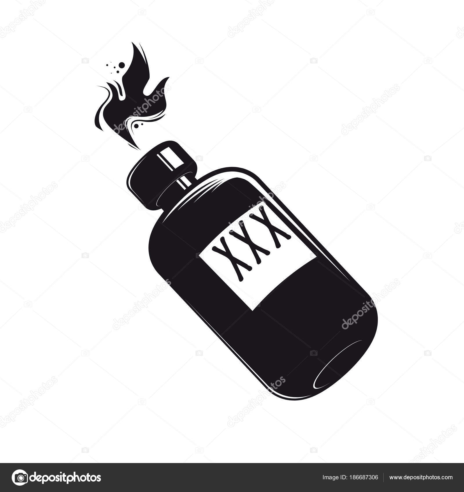 Schwarze Flasche Mit Alkohol Clipart Stockvektor Shockfactor De