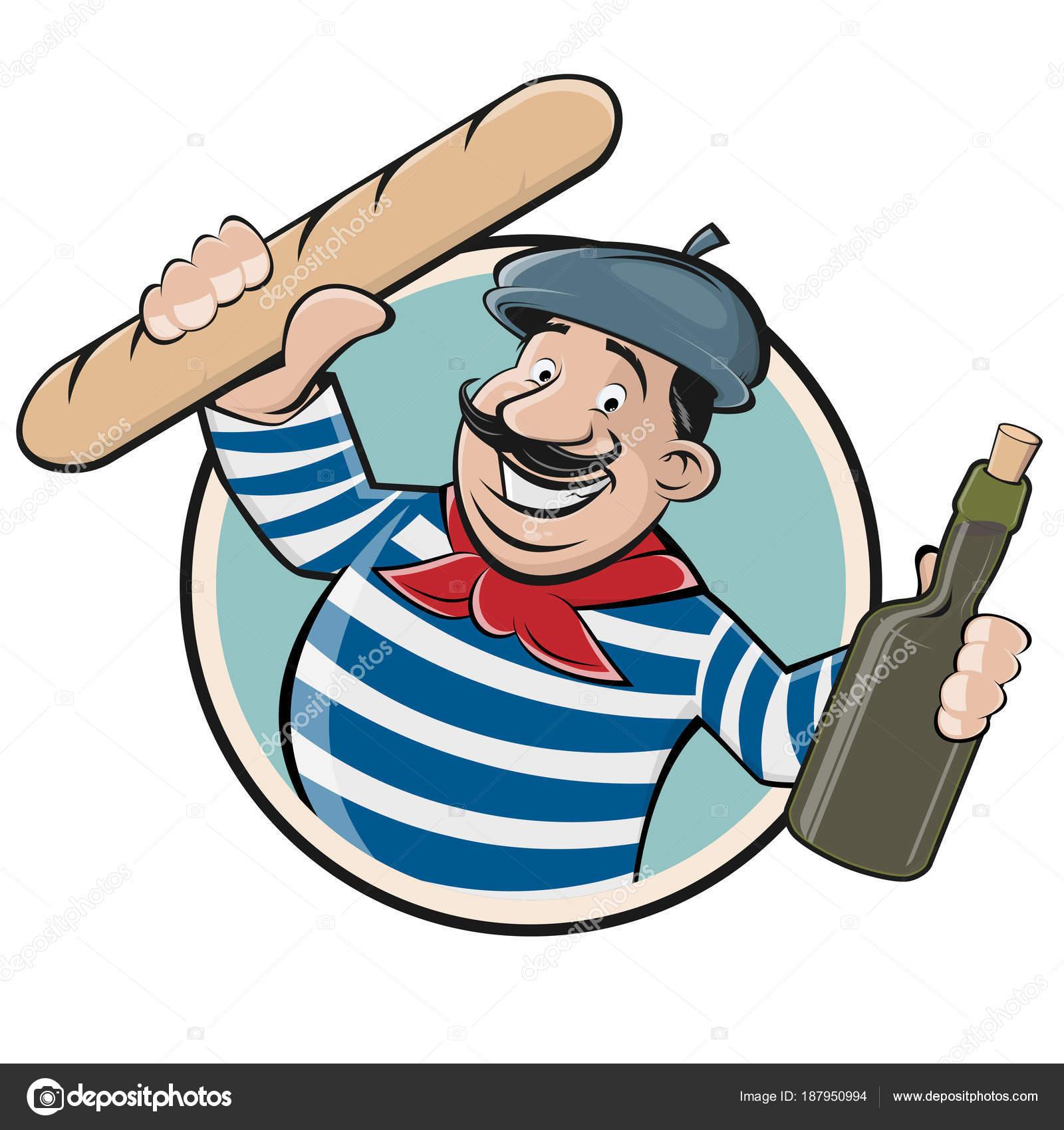 funny clipart french man baguette wine stock vector shockfactor rh depositphotos com Clip Art French Designs French Artist Clip Art