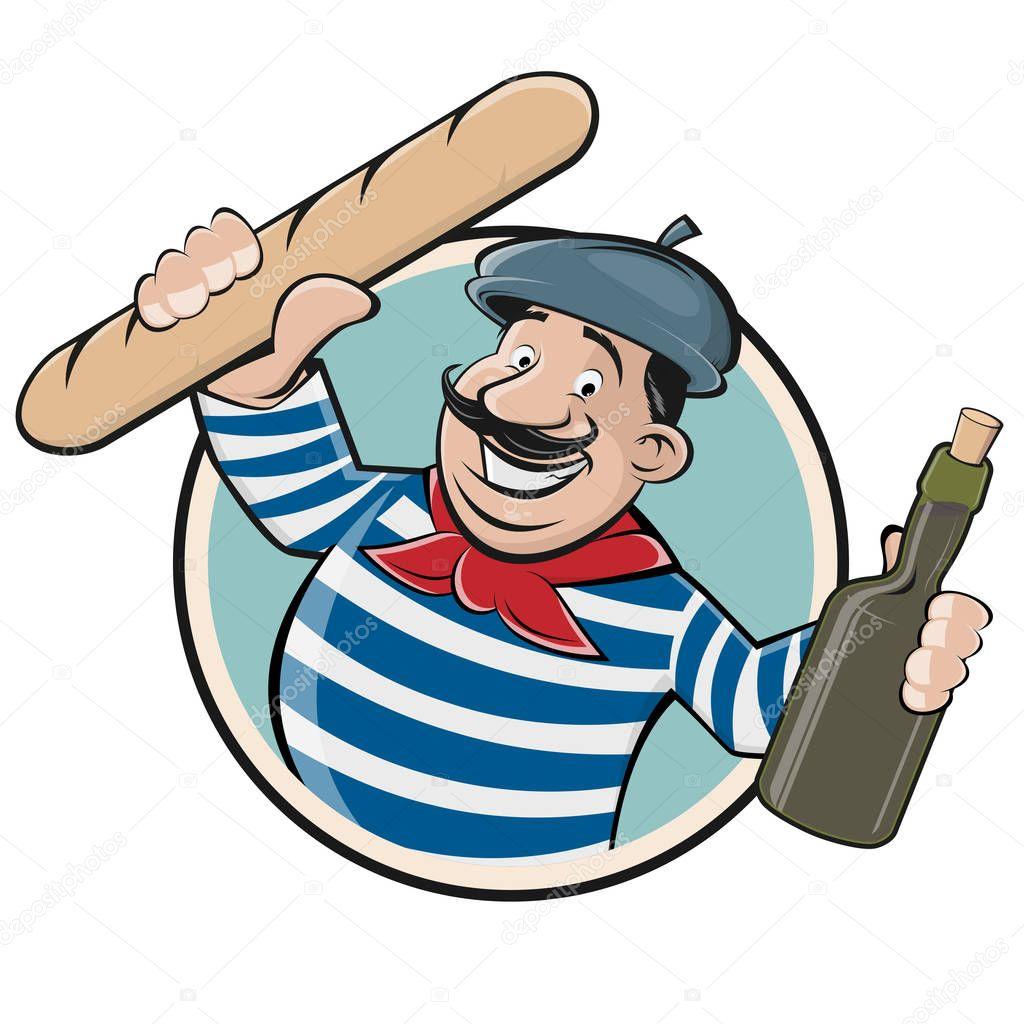 Humor Inspirational Quotes: Grappige Illustraties Van Een Franse Man Met Stokbrood