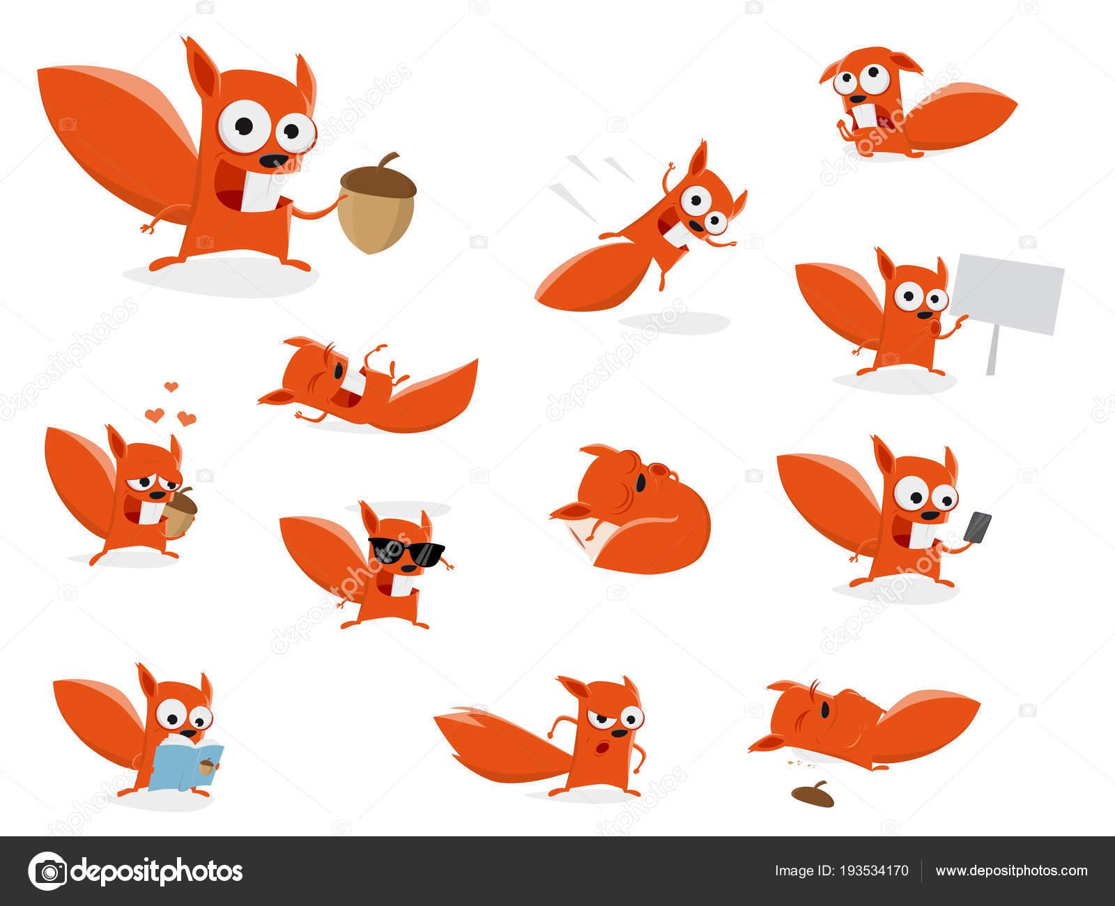 Lustige Comic Eichhörnchen Clipart Sammlung — Stockvektor ...