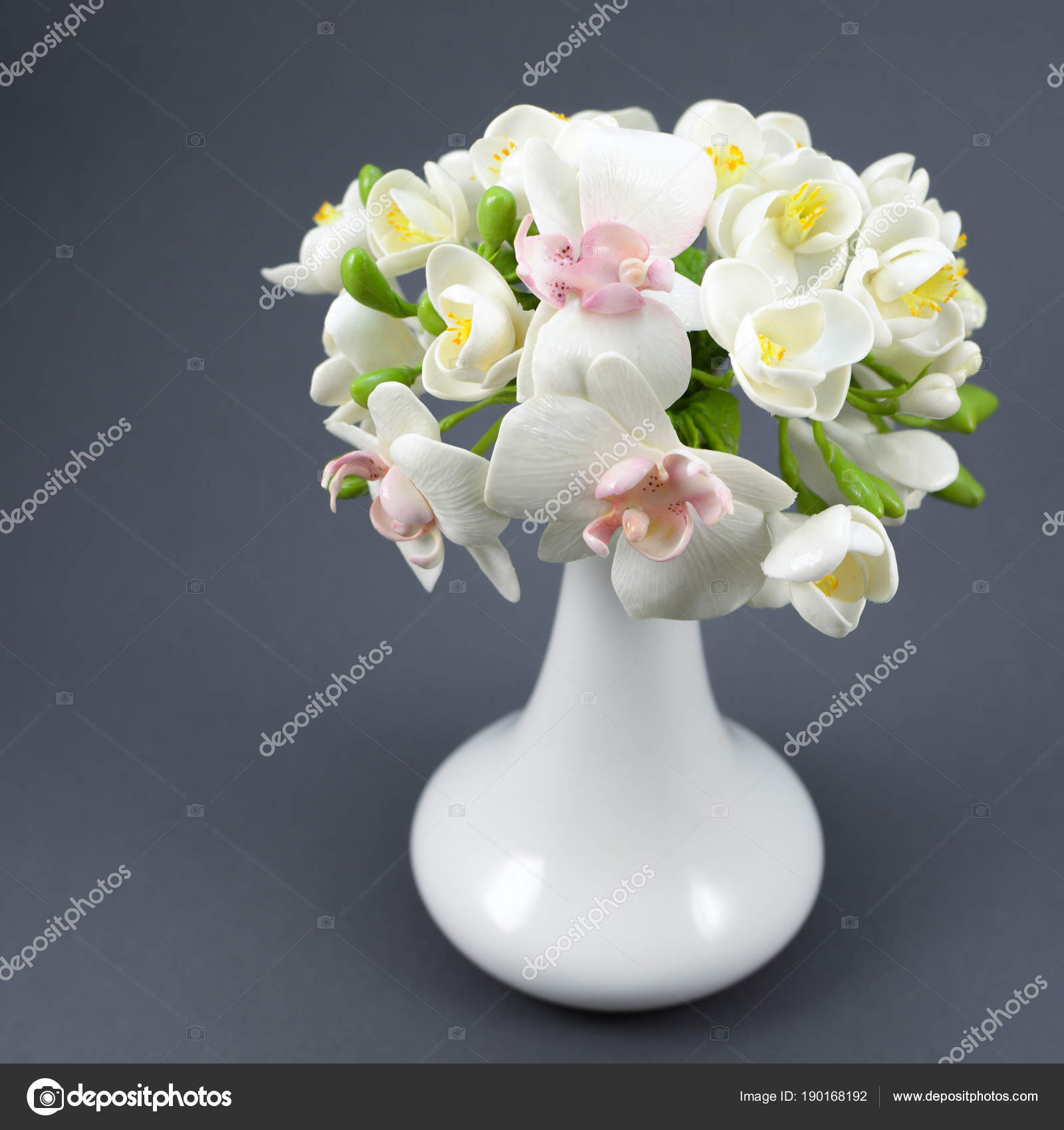 Stunning clay flower bouquet images wedding and flowers ispiration hand made polymer clay flower bouquet in a white vase on a gray izmirmasajfo Images