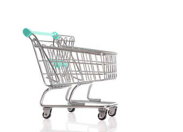 Empty shopping cart isolated on a white background stock vector