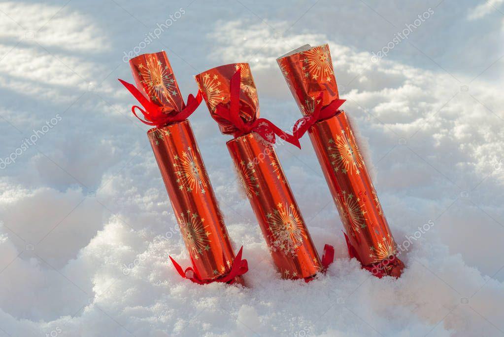 Row Of Christmas Crackers