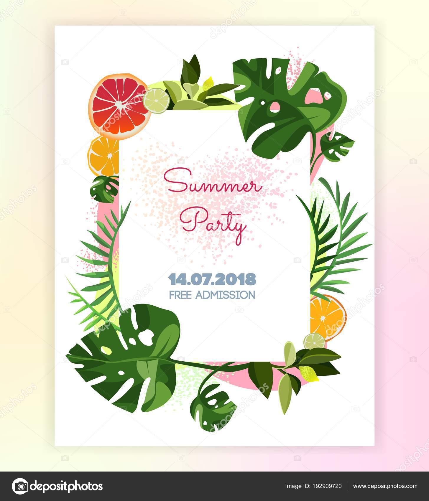 Vector Floral Tropical Invitation Card Template Print Card