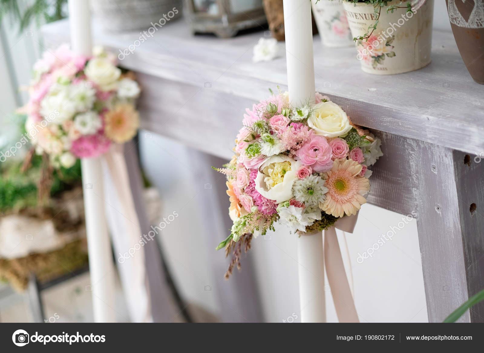 Velas Bautismos Con Arreglo Floral Bautizados Velas Blancas