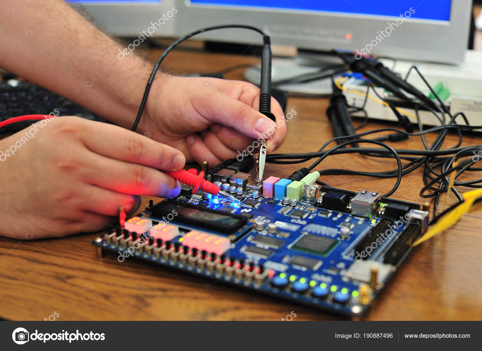 Measuring Electric Signal Pcb Board Student Hands Measure Measurements In Circuit Stock Photo