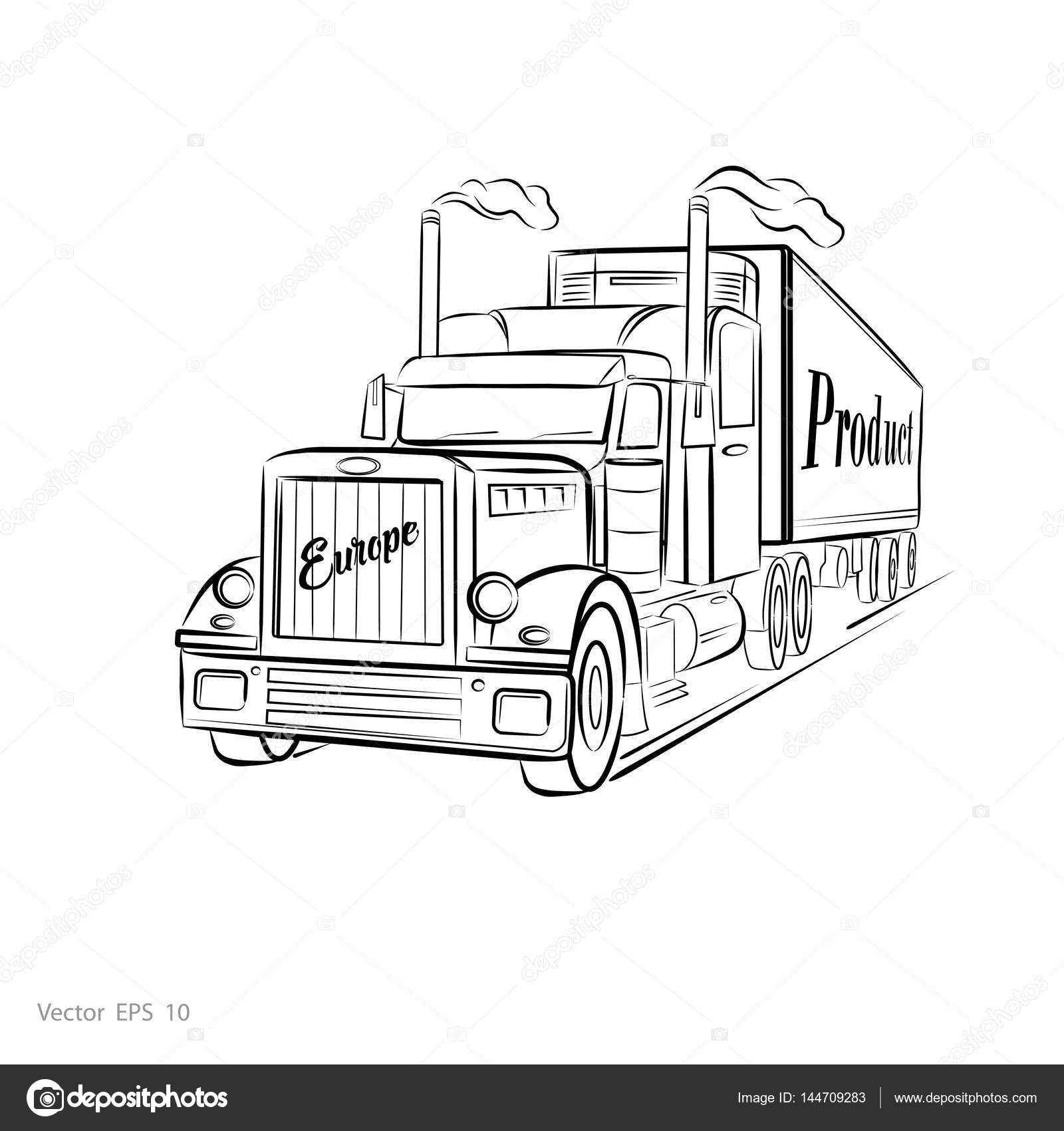 Drawings Truck Drawing Truck Vector Stock Vector C Aleks49011 144709283