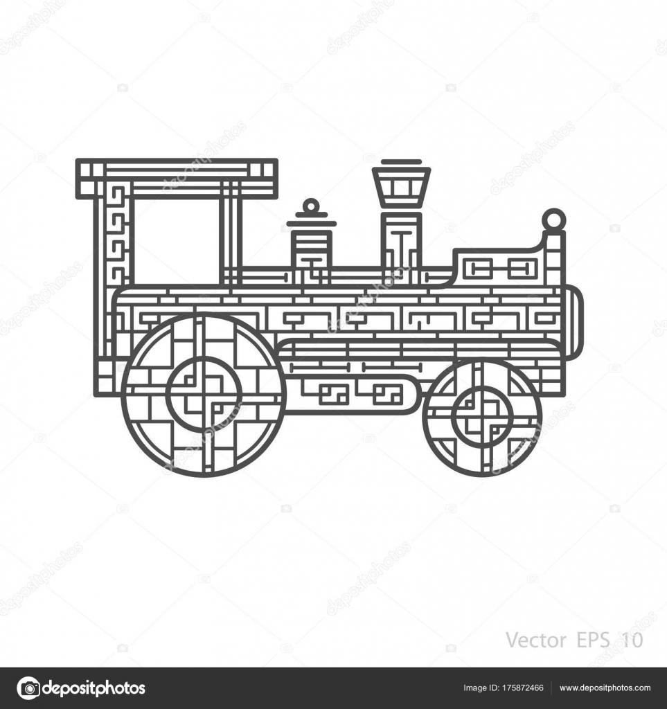 Resumen Locomotora Patrón Para Colorear — Vector de stock ...
