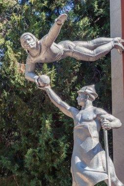 Simferopol, Crimea - May 9, 2016: Komsomol members of all genera