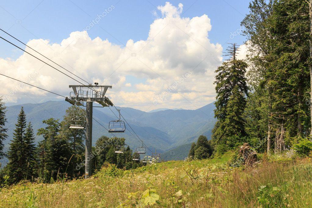 Cable lift in the summer. Gazprom center, Sochi, Russia