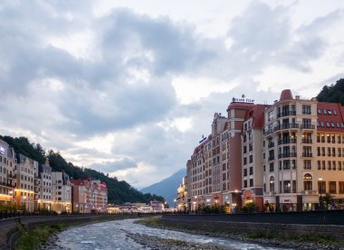 Evening at the Rosa Khutor. River Mzemta. Sochi, Russia - July 2
