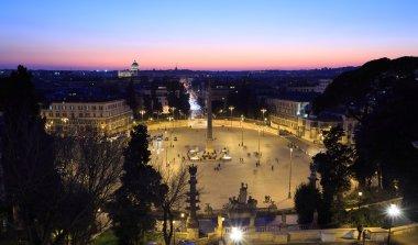 Piazza del Popolo. Evening. Rome, Italy