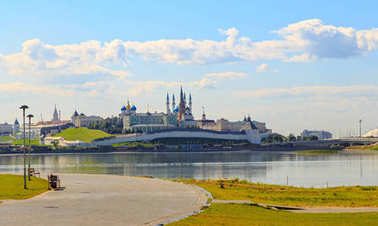 Kazan Kremlin. view from the river with reflection. Kazan, Russia