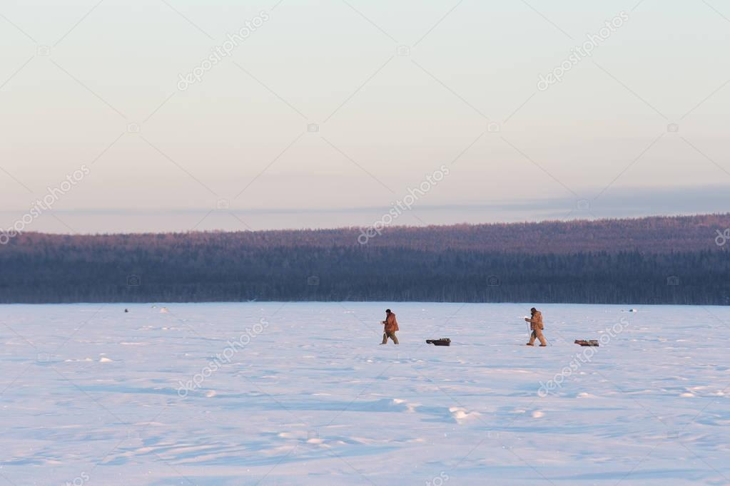 Two fishermen at sunset walk on the snow in winter. Winter fishi