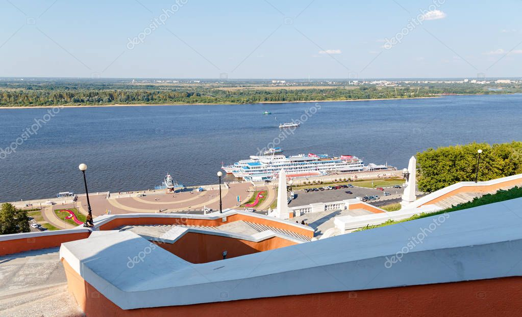 Russia, Nizhny Novgorod - August 22, 2017: Cruise ships are moor