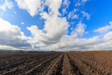 Clouds over arable land close-up. Time Laps