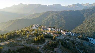 Rosa Khutor Plateau, aerial view. Russia, Sochi, Krasnaya Polyan