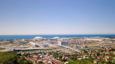 General view of Sochi Park in the Adler from a bird's-eye view. Sochi, Russia