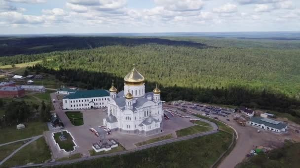 Belogorsky St. Nicholas Orthodox-Missionary Monastery. Russia, Perm Territory, White Mountain. Video. UltraHD (4K)