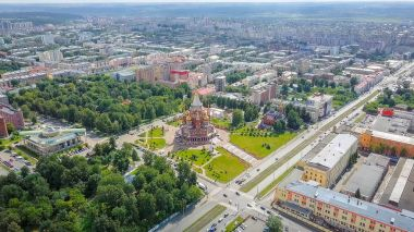 Cathedral of the Holy Archangel Michael. Izhevsk, Russia. Panorama of the city, view of Karl Marx street