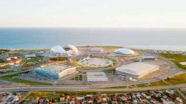 Russia, Sochi - September 03, 2017: Panorama of Olympic Park in Sochi, the venue of the 2014 Olympics, the 2018 FIFA World Cup, Formula 1 Racing - Sochi Autodrome