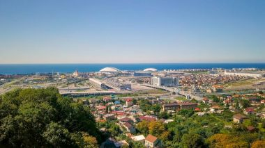 Russia, Sochi - September 03, 2017: General view of Sochi Park in the Adler from a bird's-eye view. Venue 2018 World Cup FIFA in Russia