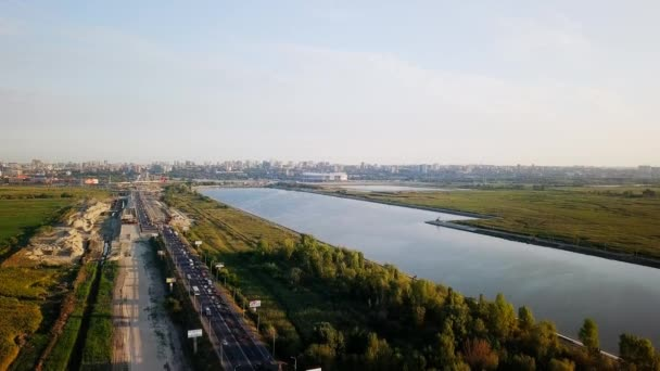 Russia, Rostov-on-Don - August 30, 2017: Panoramic view of the central part of Rostov-on-Don. Stadium - Rostov Arena, the river Don. Russia, Rostov-on-Don. Place of the 2018 FIFA World Cup in Russia. Video. UltraHD (4K)